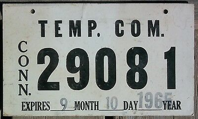 Connecticut 1965 COMMERCIAL TEMPORARY license plate!