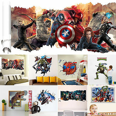 3D Superhero Avengers Cartoon Wall Stickers Decals Vinyl Childre's Bedroom Decor