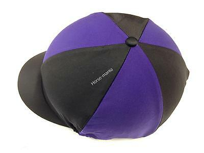 Black & Purple Riding Hat Silk Cover For Jockey Skull Caps One Size By Shires