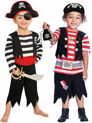 Boys Pirate Costume + Hat Child Kids Fancy Dress Book Week Day Toddler Age 3 -8