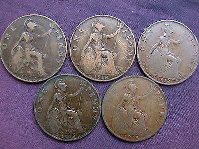 1912H, 1918KN, 1918H, 1919KN, 1919H Penny Set - 5 RARE COINS - FREE POSTAGE