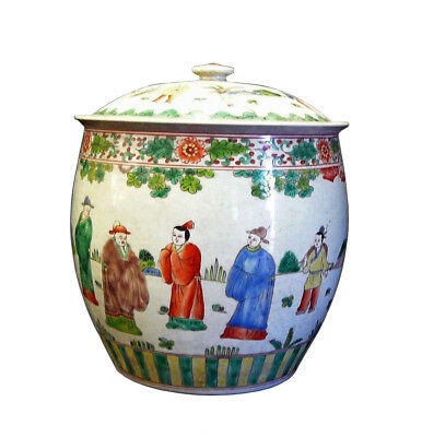 Chinese Porcelain Color People Gathering Scenery Pot cs707-12
