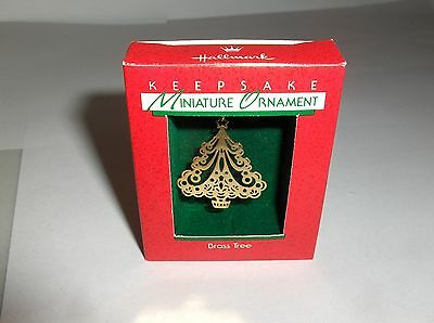Brass Tree`1988`Miniature-Etched Little Brass Tree,Hallmark Christmas Ornament