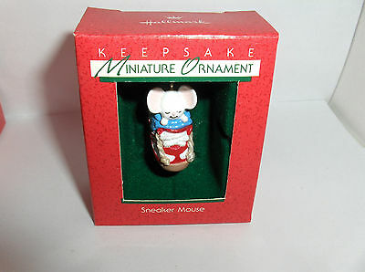Sneaker Mouse`1988`Miniature-Mouse In A Sneaker,Hallmark Christmas Ornament Nice