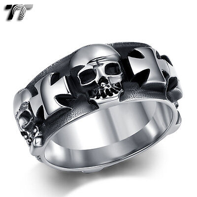 TT 9mm Width 316L Stainless Steel Skull Iron Cross Band Ring Size 7-14 (RZ152)