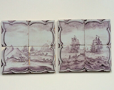 Antique Superb Set of 2 x 4 Dutch Delft Tile-Picture Whale-Fishery &Deer Hunting