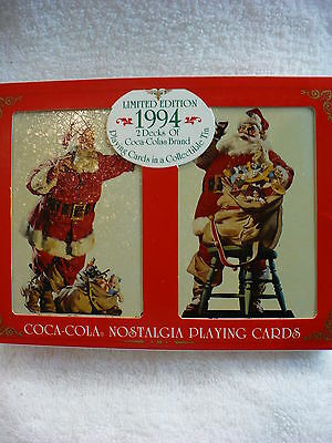 Jk- 1994 2 Decks Coca Cola Playing Cards Santa Claus In Tin #14542