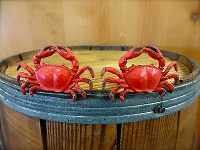 2 RED CRAB SHELLFISH METAL PULLS DRAWER CABINET HANDLES KNOBS beach ocean decor