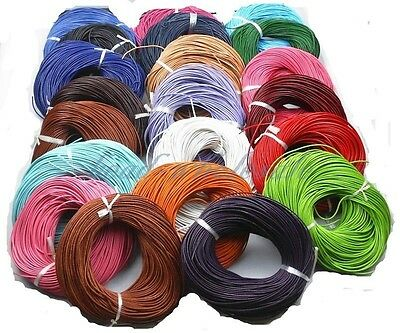 5 Meter Real Leather Rope String Cord Necklace Charms 1.0mm 2.0mm DIY Making