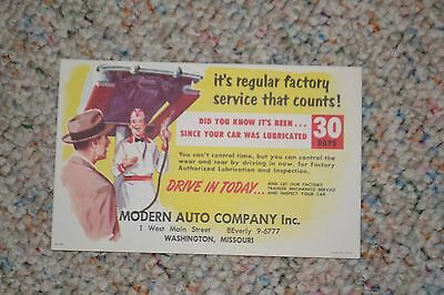 VINTAGE 1960's AUTOMOTIVE MAIL SERVICE CARD FROM MODERN AUTO 30 DAY LUBE SERVICE