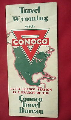 1941 Wyoming  road map Conoco  gas oil Yellowstone Casper Cheyenne Ogden inserts
