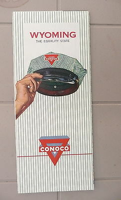 1959 Wyoming road  map Conoco  gas oil Yellowstone The Equality State