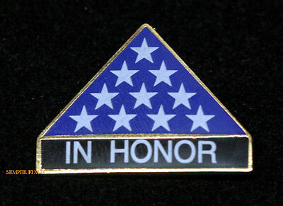 In Honor Lapel Pin Honors Folded Us Flag Army Marines Navy Air Force Funeral