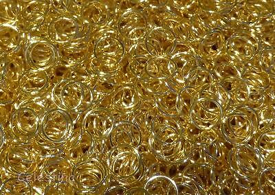 100 8mm Gold Plated Jump Rings - 0.8mm Closed Unsoldered Links Connector NF JR6