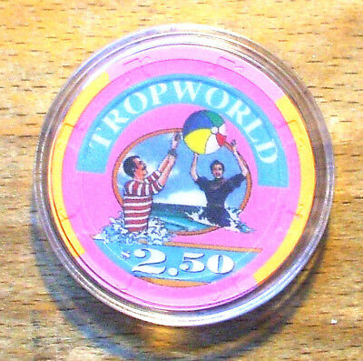$2.50 Tropworld Hotel Casino Chip - Atlantic City, New Jersey - 1988