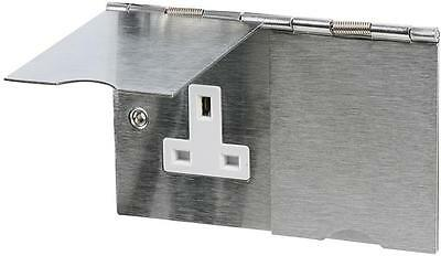 Floor Socket Double 2 Gang Electric13A Brushed Chrome Stainless Steel Flat Plate