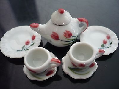 Tulip Hand Painted Coffee cup//Saucer and Teapot Dollhouse Miniatures Ceramic