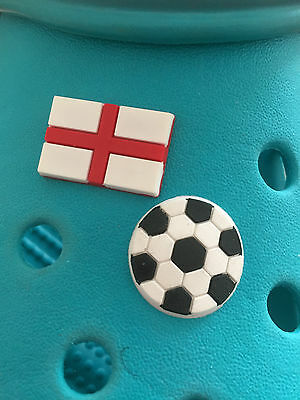 2 England Football Shoe Charms For Crocs and Jibbitz Wristbands. Free UK P&P.