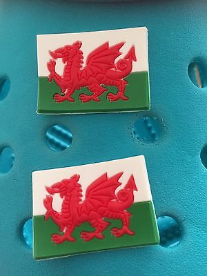 2 Welsh Flag Shoe Charms For Crocs and Jibbitz Wristbands. Free UK P&P.