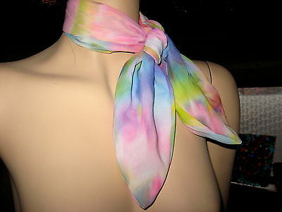 New Pink blue yellow White tie dyed Rockabilly Lolita  Neck Head Tie Scarf Party