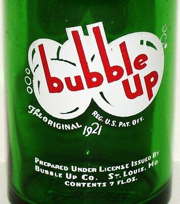 Vintage soda pop bottle BUBBLE UP #2 green 7oz G M Swallow and Sons Lima Ohio