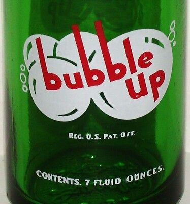 Vintage soda pop bottle BUBBLE UP #1 green 7oz G M Swallow and Sons Lima Ohio