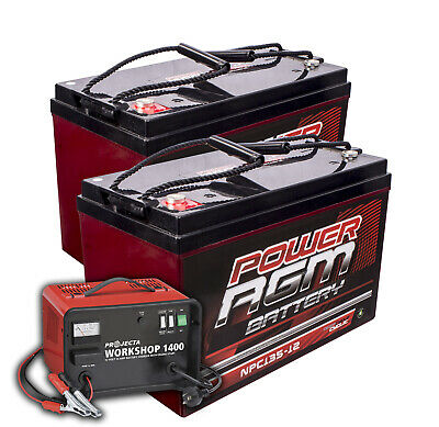 2x 135AH AMP HOUR BATTERY AGM SLA 12 VOLT 12V DEEP CYCLE + PROJECTA CHARGER