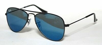 Ray Ban 9506S 9506/s 50 Aviator Junior 201/55 Sunglasses Black Blue Mirror Baby