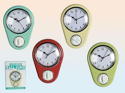 Vintage Retro Pastel Colour Kitchen Wall Clock With Cooking Timer