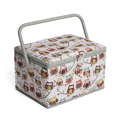 NEW | Hobby Gift MRL/195 | Hoot Print Large Sewing Box | 23½x31x20cm | FREE POST