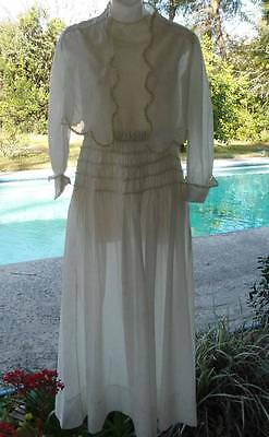 Antique Victorian Wedding Party Dress Gown Net Lace Bolero Jacket Ribbonwork