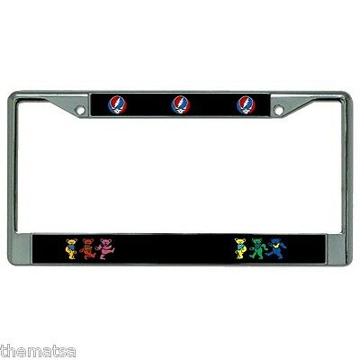 Grateful Dead Head Band Music Fan Chrome License Plate Frame Made In Usa