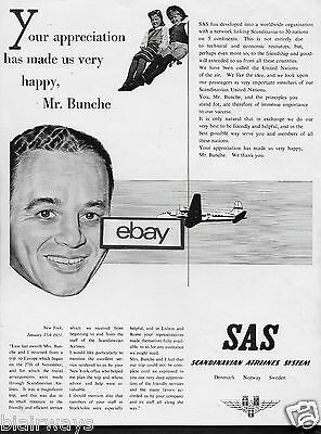 Sas Scandinavian Airlines Made Us Very Happy Mr Bunche Testimonial 1951 Ad