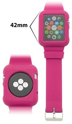 Apple Watch 42mm, Protective Silicone Hot Pink Case