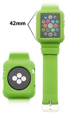 Apple Watch 42mm, Protective Silicone Neon Green Case