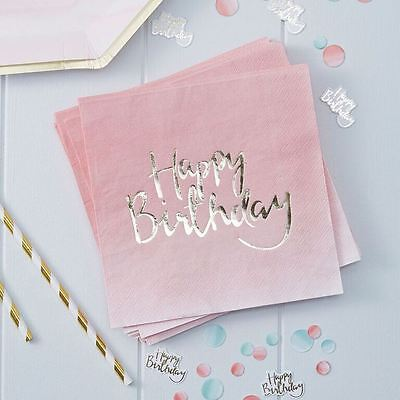 Gold Foiled Pink Ombre Happy Birthday Paper Napkins Serviettes x 20 Party