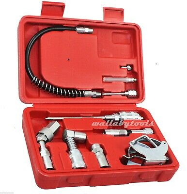 10pc Multi Function Lubrication Grease Gun Aid Kit hoses couplers Air And Manual