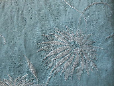 Antique French Robins egg Blue Mum Floral Damask Ticking Fabric ~ cotton linen
