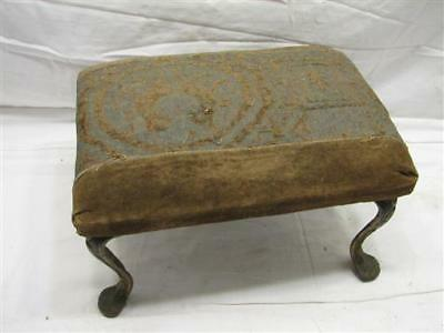 Antique Art Nouveau Cast Iron Leg Upholstered Bench Stool Rest Foot Victorian
