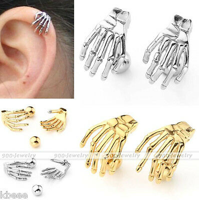 16G Stainless Steel Skeleton Hand Cartilage Helix Barbell Ear Stud Earring Goth