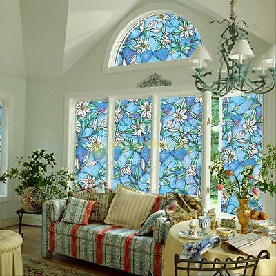 Orchid Window Film Sticker Stained Glass Home Privacy DIY Decoration 1.5ft*4.9ft