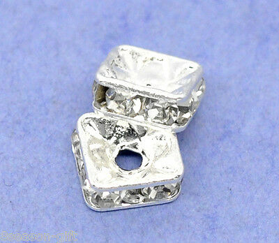 100 Silver Plated Rhinestone Square Spacer Beads 6x6mm