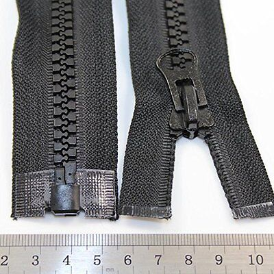 "BLACK 18"" - 40"" INCH CHUNKY ZIP No.10 OPEN END ZIPS HEAVY DUTY ZIPPER SEWING SEW"