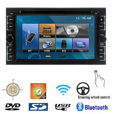 "Non GPS Double 2Din 6.2"" Stereo Car DVD CD Player Bluetooth Radio iPod SD/USB TV"
