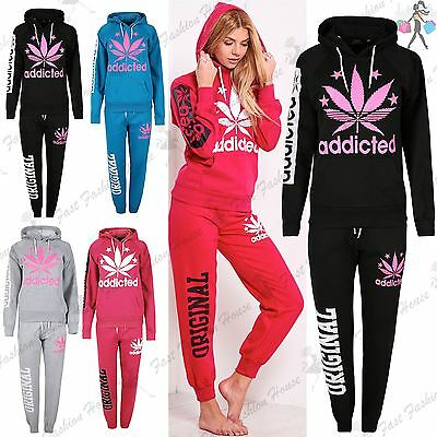 Ladies Womens Essentials Fleece Addicted Sweats Hoody Jog Suit Tracksuit Uk 8-14