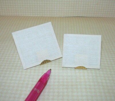 Miniature PAIR of Artist's (Fabric) Canvases on Wooden Frame : DOLLHOUSE 1/12