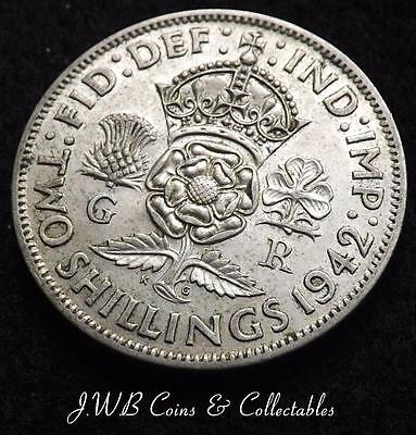 1942 George VI .500 Silver Florin / Two Shillings Coin - Great Britain.