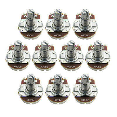 10pcs A500K Full Size Tone Pots 18mm Long Split Shaft Amplifier Guitar Pots