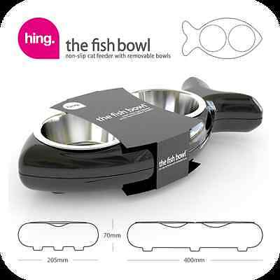 Hing FBBK13 Fish Shaped Cat Bowl Rubber and Metal Design Easy Clean Black - New