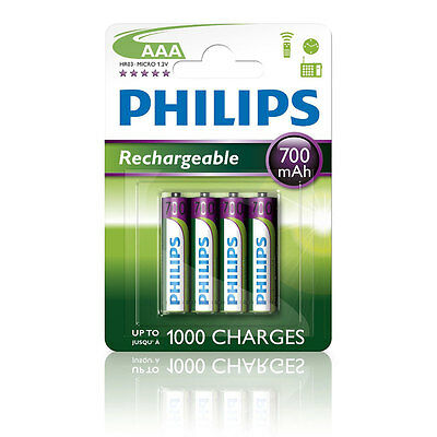 4x Philips AAA 700 mAh NiMH Rechargeable Batteries LR03 HR03 Dect Cordless Phone